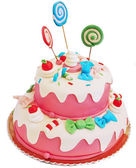 Torta di compleanno rosa — Foto Stock