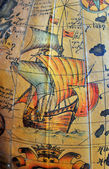 Old map with sailing ship — Stock Photo