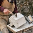 Stock Photo: Stonemason, hands detail