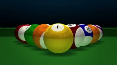 Billiard Pool Break 3D — Stock Video