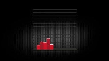 Vermelho de barras de gráfico 12 de crescimento — Vídeo stock