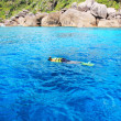 Snorkeling in blue coral reef — Stock Photo #14612685