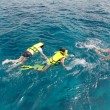 Snorkeling in blue coral reef — Stock Photo