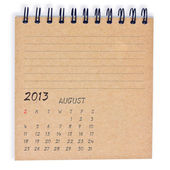 August 2013 Calendar recycly notebook paper — Stock Photo