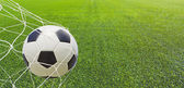 Soccer ball in a net. — Stockfoto