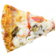 Delicious slice of pizza with seafood isolated on white — Stock Photo