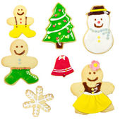 Gingerbread man isolated on white background. Christmas cookie , — Stock Photo