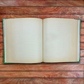 Vintage book, open, on old wooden  — Stock Photo