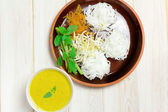 Boiled Thai rice vermicelli, usually eaten with spicy curries  — Stock Photo