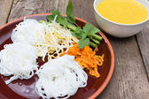 Boiled Thai rice vermicelli, usually eaten with spicy curries on — Stock Photo