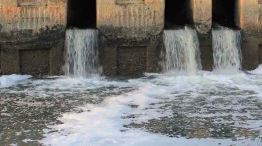 Waste water to small canal — Stock Video
