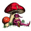 Little cute dwarf sleeping under the mushrooms — Stock Photo