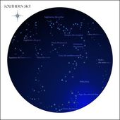 Star map, southern sky constellations — Stock Vector