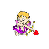Vector illustration of cute cupid ready to shoot his arrow — Vector de stock