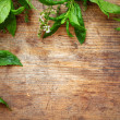 Green mint leaves on wooden background — Stock Photo #16174721