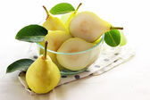 Fresh pears on white background — Stock Photo