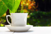 Cup of tea on white table — Stock Photo