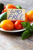 """Fresh vegetables with the card """"GMO Free"""" — Stock Photo"""