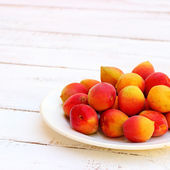 Fresh orange apricots on white wooden background — Stock Photo