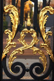 Golden decoration on the iron gate, Saint Petersburg, Russia — Stock Photo