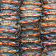 Many crabs stacked in rows - Stock Photo