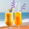 Pineapple, mango and passion fruit juice — Stock fotografie