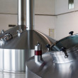 Steel fermentation vats on brewer factory — Stock Photo