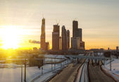 Road and skyscrapers of Moscow — Stockfoto