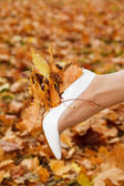 White shoes bride and autumn yellow maple leaves — Stock Photo