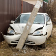 Car crashed into a pole — Stock Photo