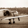 Stock Photo: Piston training aircraft on ground