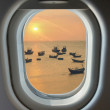 Porthole, top view on the blue sky and clouds — Stock Photo