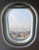 Porthole and Dubai's skyscrapers — Foto de Stock