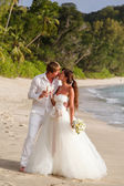 Newlyweds with wedding bouquet — Foto Stock