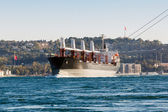 Large ship tanker proceeding along the Bosphorus — Stockfoto