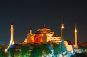 Hagia Sophia with sunset on a background — ストック写真