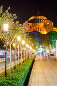 Hagia Sophia and the alley with lanterns — Stock Photo