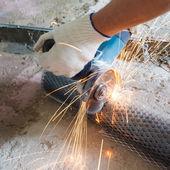 Cut metal mesh circular saw — Stock Photo