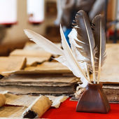 Feathers and inkpot — Stock Photo