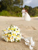 Wedding bouquet frangipani — Stock Photo