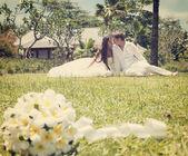 Wedding bouquet of frangipani — Stock Photo