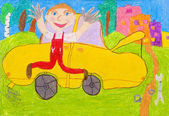 Pre-school children's creativity car — Zdjęcie stockowe