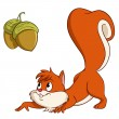 Cartoon squirrel sneak up to nuts — Stock Vector