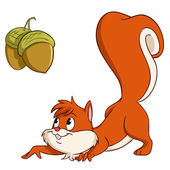 Cartoon squirrel sneak up to nuts — Stock Vector
