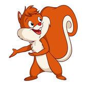 Cartoon squirrel make welcome gesture — Stock Vector