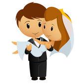 Cartoon groom carrying bride — Stock Vector