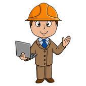 Cartoon engineer with notebook — Stock Vector