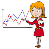 Cartoon woman present graph — Stock Vector