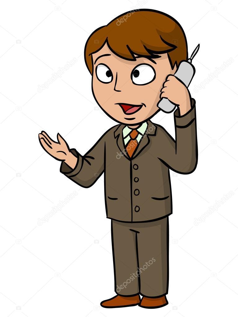 Empresario de dibujos animados hablando con el teléfono celular