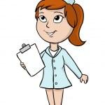 Cartoon nurse with blank tablet — Stock Vector